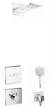 Душевая система скрытого монтажа с термостатом Hansgrohe Select 1576+28433 хром/белый - фото 106840