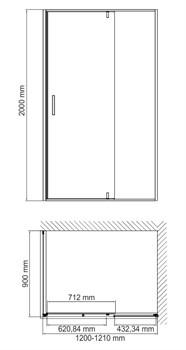 Душевой уголок с универсальной распашной дверью Wasserkraft Elbe 74P07 1200х900х2000 мм - фото 155855