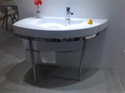 Раковина с консолью NS Bath NSS-1153G+basis на 118 см белая глянцевая - фото 186381