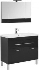 Комплект мебели для ванной Aquanet Верона NEW 100 черный (напольный 1 ящик 2 дверцы) - фото 209677