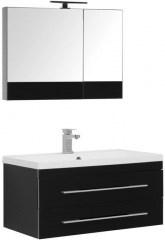 Комплект мебели для ванной Aquanet Верона NEW 90 черный (подвесной 2 ящика) - фото 209690