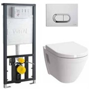Комплект инсталляция и унитаз подвесной безободковый VITRA S50 Rim-Ex 9003B003-7201