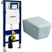 Комплект инсталляция и унитаз подвесной безободковый GEBERIT Duofix KERAMAG 111.300.00.5-20195 с системой плавного опускания, микролифт