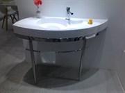 Раковина с консолью NS Bath NSS-1153G+basis на 118 см белая глянцевая