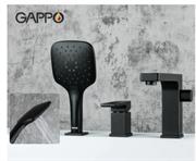 Смеситель на борт ванны GAPPO Fatura G1117-6 черный матовый